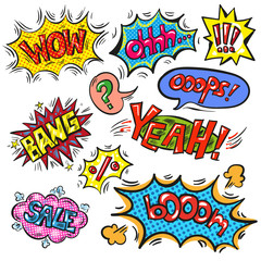 Vector pop art speech bubble set with abbreviations and signs