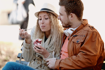 Happy Couple Eating Ice-Cream