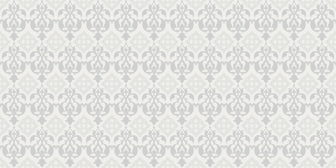 Interior design. Vector damask seamless pattern. Grey color