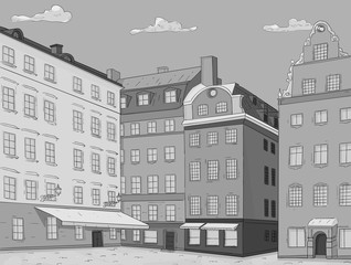 Stortorget square in old city of Stockholm. Hand drawn sketch. Grayscale illustration