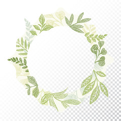 Hand drawn circle flaral frame vector. Green branches and leaves border decoration. Round greenery card decor. Transparent background