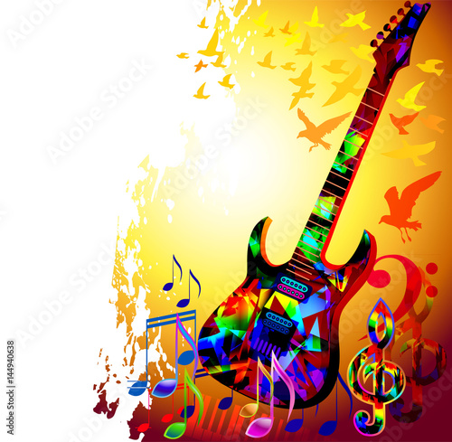 Quot Colorful Music Background With Electric Guitar Music