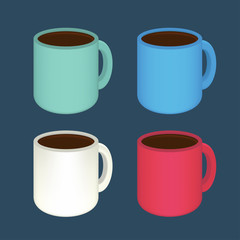 Set of colored mugs with coffee. Vector illustration