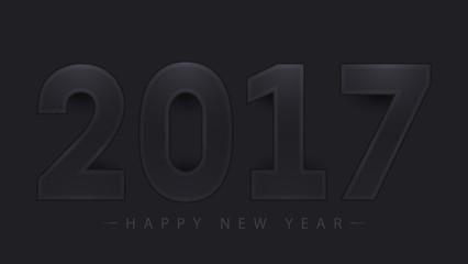 2017 Happy New Year on black background. Vector illustration. EPS10
