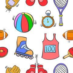 Pattern sport equipment of vector art