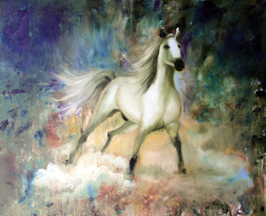 Handwork oil illustration. .White horse on a mystical abstract background