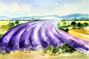 Handwork watercolor illustration. Provence France. .Landscape with lavender.
