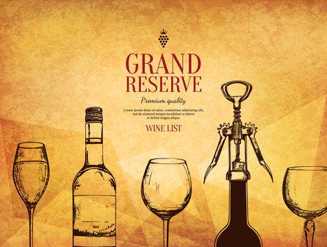 Wine list design. Vector brochure template for winery, cafe, restaurant, bar. Wine bottles and glasses
