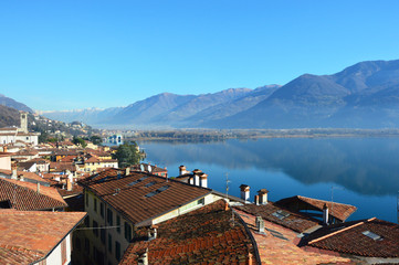 Beautiful landscape of Lake Iseo with roofs houses, Lovere, Italy