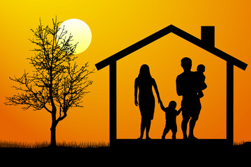 family house silhouette vector