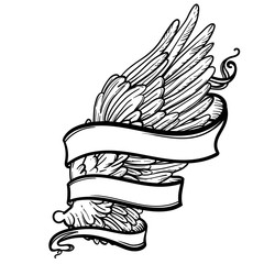 Line art illustration of angel wing and ribbon. Hand drawn vector card. Sketch for tattoo, hipster t-shirt design, vintage style posters. Coloring book for kids and adults.