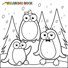 Snowy landscape with penguins on ice. Black and white coloring page