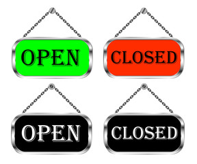 Open and closed sign board, vector isolated set