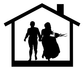 Young couple in the house silhouette