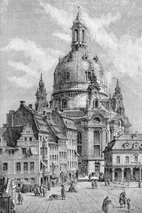 The Dresden Frauenkirche is a Lutheran church in Dresden built in the XVIII century in baroque style. It was destroyed during WWII and rebuilt after the reunification of Germany