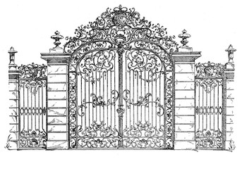 Baroque iron gate to the palace gardens in Karlsruhe, from XVII century.