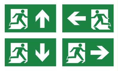 fire exit icon set