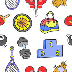Collection of sport equipment pattern style