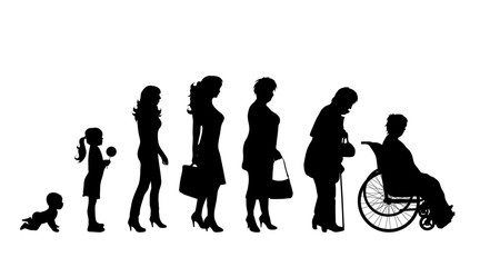 Vector illustration of generation of woman.
