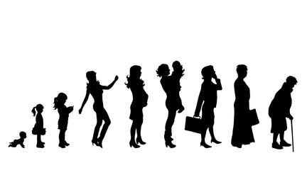 Vector illustration of generation of woman.