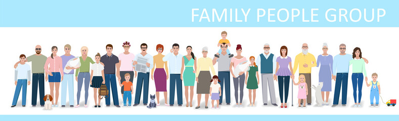 Big family, vector illustration