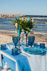 Table decor and blue tableware