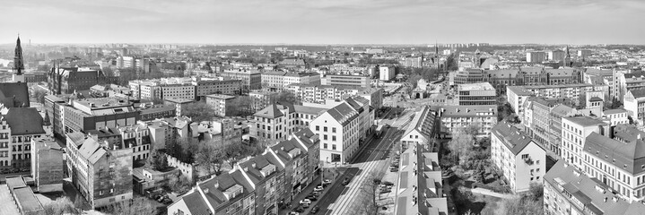 Black and white panoramic view of Szczecin (Stettin) city downtown, Poland.