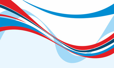 Abstract background with red, blue and white wavy lines. Vector illustration