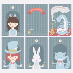 Set of postcards with characters of Wonderland. Alice in Wonderland, White rabbit, Mad Hatter, Caterpillar. Vector posters, cards