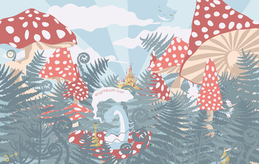 Wonderland background. Wonderland landscape with mushrooms, ferns and grass. Caterpillar with a hookah, Cheshire cat and the white rabbit (the characters in fantasy tales Alice in wonderland)