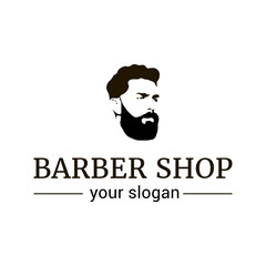 Vector logo template for barber shop. Illustration of man with beard.