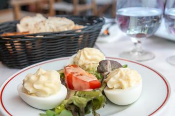 Fresh fruits salad with egg