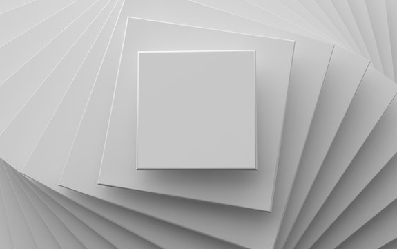 white background of different scale square planes
