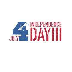 Independence day, 4th July logotype. Patriotic typography design template.  Grunge textures in layers and can be edited.