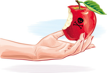 Female hand with poisoned apple just bitten.
