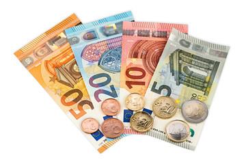 euro currency coin and bank notes isolated on white background background / Euro Euroscheine und Münzen hintergrund