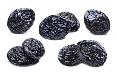 Dry prunes selection isolated on white