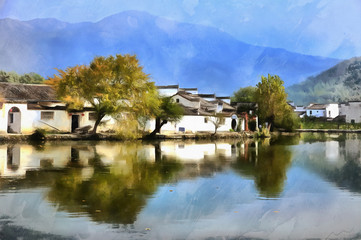 Colorful painting of China village