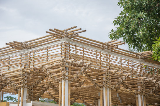 Bamboo building under construction