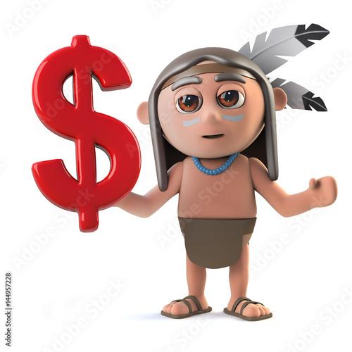 3d Funny Cartoon Native American Indian Warrior Has Us Dollar