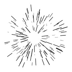 Sunburst design element. Vector illustration. Icon black on white. Design element for logo, signs. Linear drawing of rays of the sun in dynamic style.