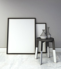 mock up poster on grey wall interior, with wooden stool beside. Scandinavian style. 3d rendering illustration