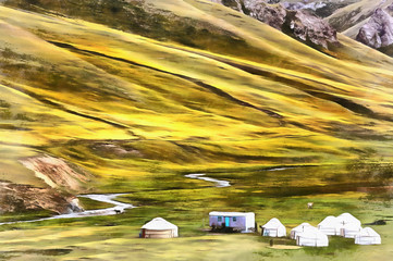 Colorful painting of yurt in mountain valley