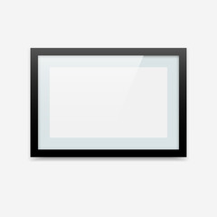 Horizontal black vector photo frame with tender blue passe-partout. Picture frame mockup with landscape orientation.