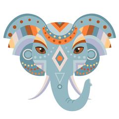 Elephant Head Logo. Vector decorative Emblem.