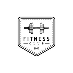 Vector fitness logo. Hand sketched athletic barbell illustration. Gym emblem, badge, sports complex sign, club icon.