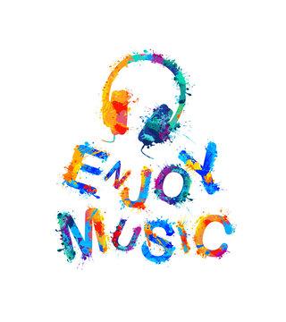 Enjoy music. Vector watercolor splash paint headphones