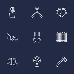 Set Of 9 Household Outline Icons Set.Collection Of Waterproof Shoes, Garden, Grass-Cutter And Other Elements.
