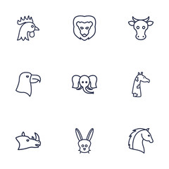 Set Of 9 Brute Outline Icons Set.Collection Of Cock, Giraffe, Eagle And Other Elements.