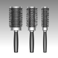 Vector Set of Different Black Metal Plastic Hot Curling Radial Hair Brush Comb Side View Isolated on Background